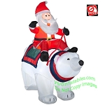 Santa Riding Polar Bear Scene