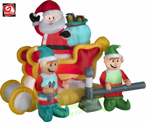 gemmy airblown inflatable animated santa in sleigh w 2 elves - Animated Christmas Elves Decorations