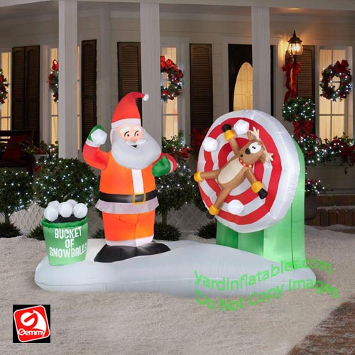 Gemmy Airblown Inflatable Animated Santa Snowball Throwing Scene