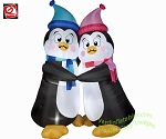 6' Animated Shivering Penguin Couple