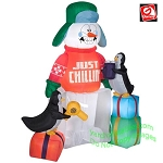 5 1/2' Animated Shivering Snowman In Ice