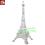 7' Gemmy LightShow Sparkle SILVER LED Eiffel Tower Yard Decor