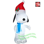 3 1/2'  Snoopy Wearing Santa Hat And Blue Scarf
