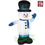 7' Snowman Wearing Blue Mittens