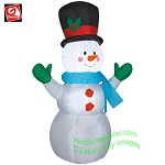 4' Snowman Wearing Green Mittens and Blue Scarf