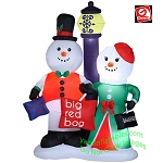 Snowman Couple Holding Shopping Bags