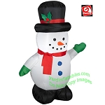 4' Snowman Wearing Green Mittens And Red Scarf