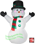 4' Snowman Wearing Red And Green Scarf
