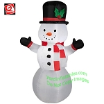 3 1/2' Snowman Wearing Red/White Striped Scarf