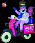 NEON Snowman and Penguin on Scooter