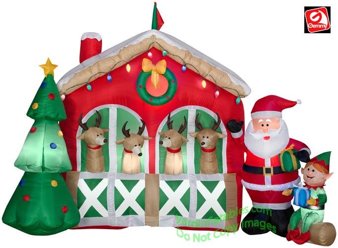 Gemmy airblown inflatable 9 santa elf stable 4 reindeer scene
