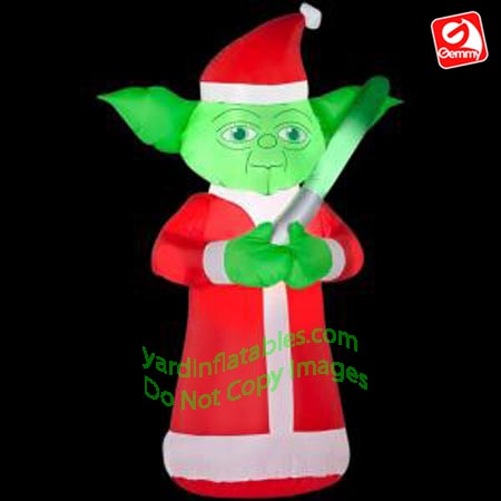 3 12 yoda dressed as santa - Star Wars Blow Up Christmas Decorations