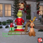6' Airblown Inflatable Grinch and Max on Sled Scene