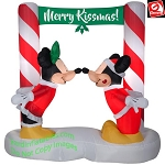 6' Airblown Inflatable Mickey and Minnie Kissing Under Mistletoe