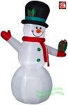 7' Airblown Inflatable Snowman Holding Present
