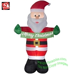 8' Inflatable Santa Claus Holding Merry Christmas Banner