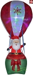 12' Projection Lightshow Santa In Hot Air Balloon
