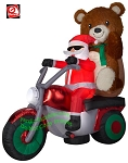 6 1/2' Mixed Media Santa On Motorcycle w/ Teddy Bear