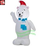 3 1/2' Polar Bear Standing Wearing Blue Scarf, Mittens & Santa Hat
