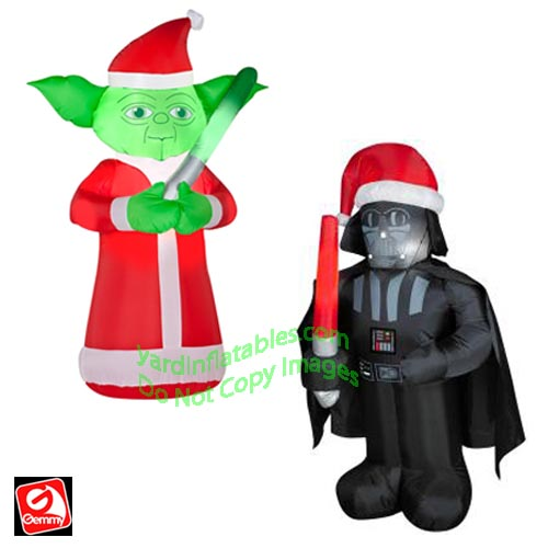 3 12 yoda darth vader santa hat combo - Star Wars Blow Up Christmas Decorations