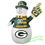 7' Air Blown Inflatable NFL Green Bay PACKERS Snowman