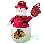 7' Air Blown Inflatable Chicago Blackhawks Snowman