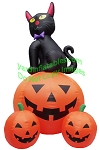 12' Black Cat Sitting On Pumpkin