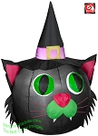 3 1/2' Black Cat Head With Witches Hat