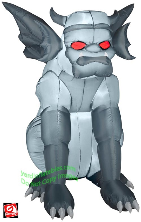Gemmy Airblown Inflatable Grey Gargoyle Sitting With Red Eyes