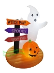 5 1/2' Air Blown Inflatable Ghost w/ Sign & Pumpkins