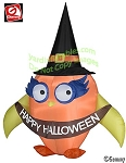 7' Halloween Owl Wearing Witches Hat Holding Banner