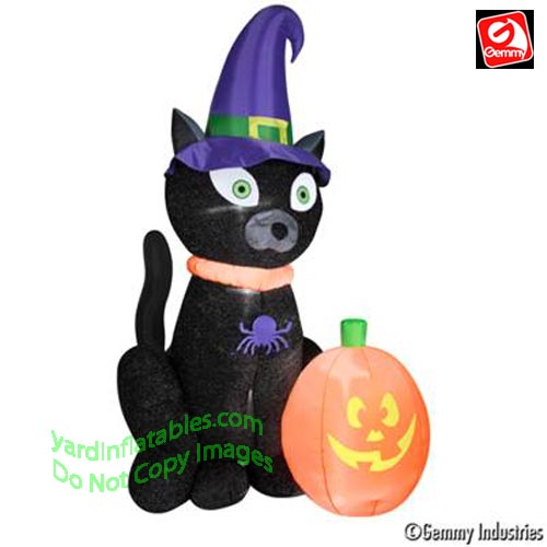 Gemmy Cat With Witch Hat
