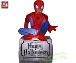 3 1/2' Halloween Spiderman Sitting On Tombstone