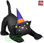 6' ANIMATED Airblown Black Cat w/ Turning Head Wearing Witch Hat