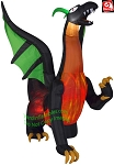 7' Airblown Inflatable LIGHTSPEED Black/Orange Dragon With Green Wings