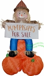 7 1/2' Scarecrow sitting on Pumpkin w/ Banner