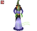 7' Scary Green Witch In Purple Outfit