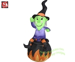 4 1/2' Happy Witch Sitting On Cauldron