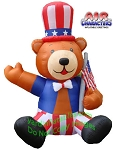 Inflatable Patriotic Bear Holding Flag