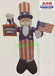 6' Uncle Sam Holding Flag &