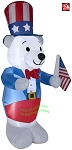 Gemmy Airblown Inflatable 6' Fourth Of July White Bear