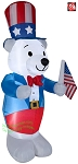 Gemmy Airblown Inflatable 4' Fourth Of July White Bear