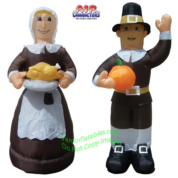 Air blown inflatable thanksgiving pilgrim man and woman combo