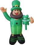 6' Inflatable St. Patrick's Day Leprechaun Holding Clover