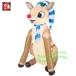 3 1/2' Rudolph Sitting Wearing Blue/White Striped Stocking Hat