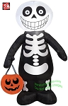 3 1/2' Skeleton Boy Holding Pumpkin Tote