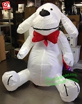 2' White Dog w/ Red Bow Tie Table Topper Centerpiece
