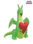 6' Air Blown Valentine's Day Dragon Holding Heart