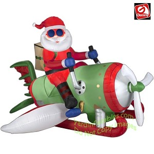 7' Santa Flying Machine Airplane/Rocket