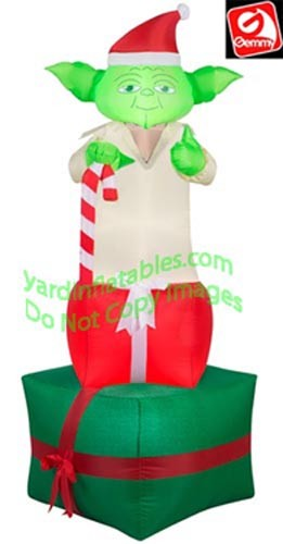 6' Star Wars Yoda Holding Candy Cane on 2 Presents